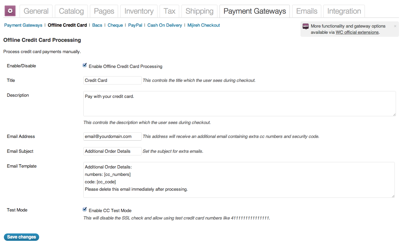 offline credit card processing for woocommerce plugin standard options