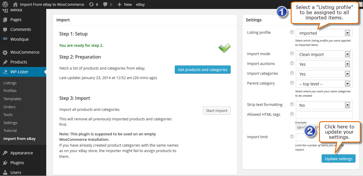 Import from eBay to WooCommerce - WP Lab