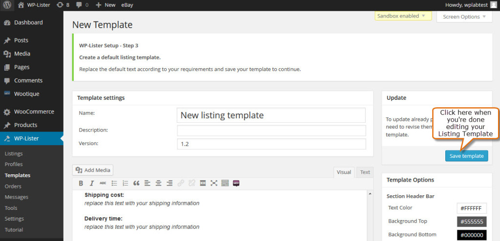 save changes for the new listing template