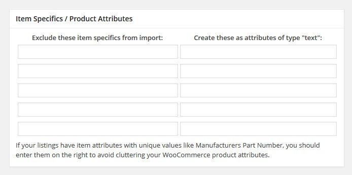 item specifics- product attributes