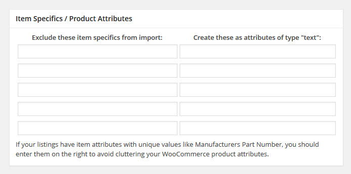 item specifics- product attributes
