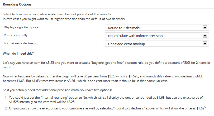 bulk pricing settings rounding options