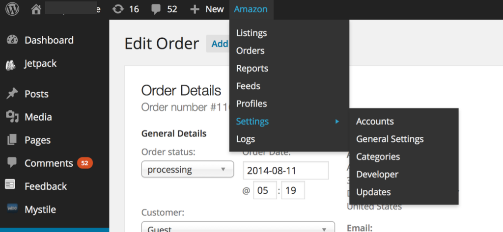WP-Lister for Amazon - Admin Toolbar