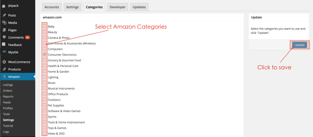 Select your Amazon categories